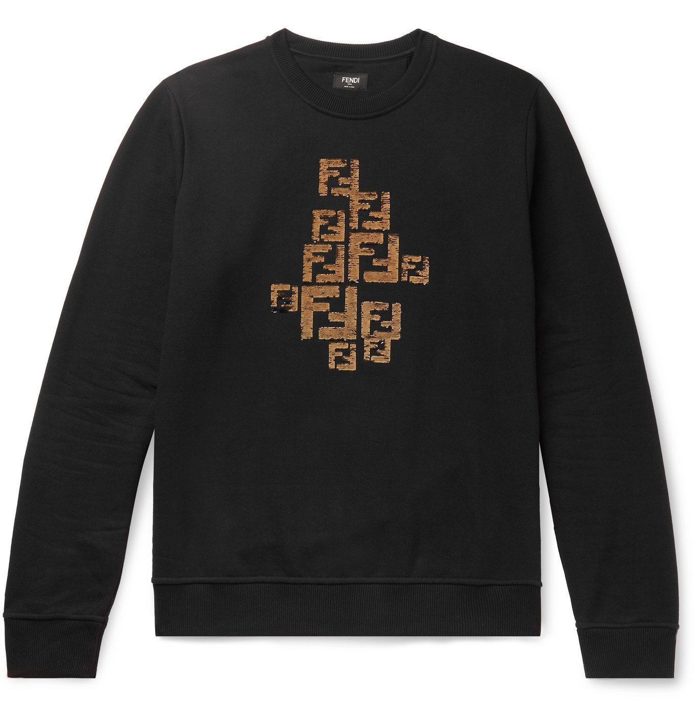 Photo: Fendi - Logo-Embellished Fleece-Back Cotton-Jersey Sweatshirt - Black