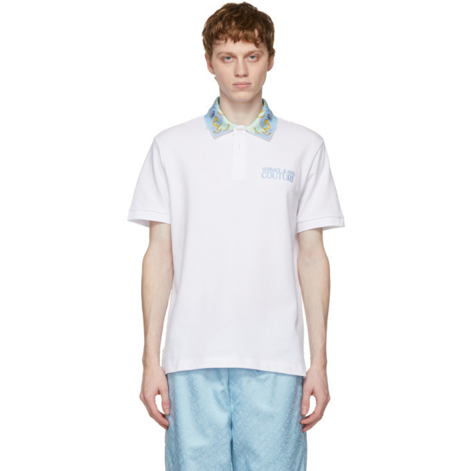 Photo: Versace Jeans Couture White Barocco Collar Polo