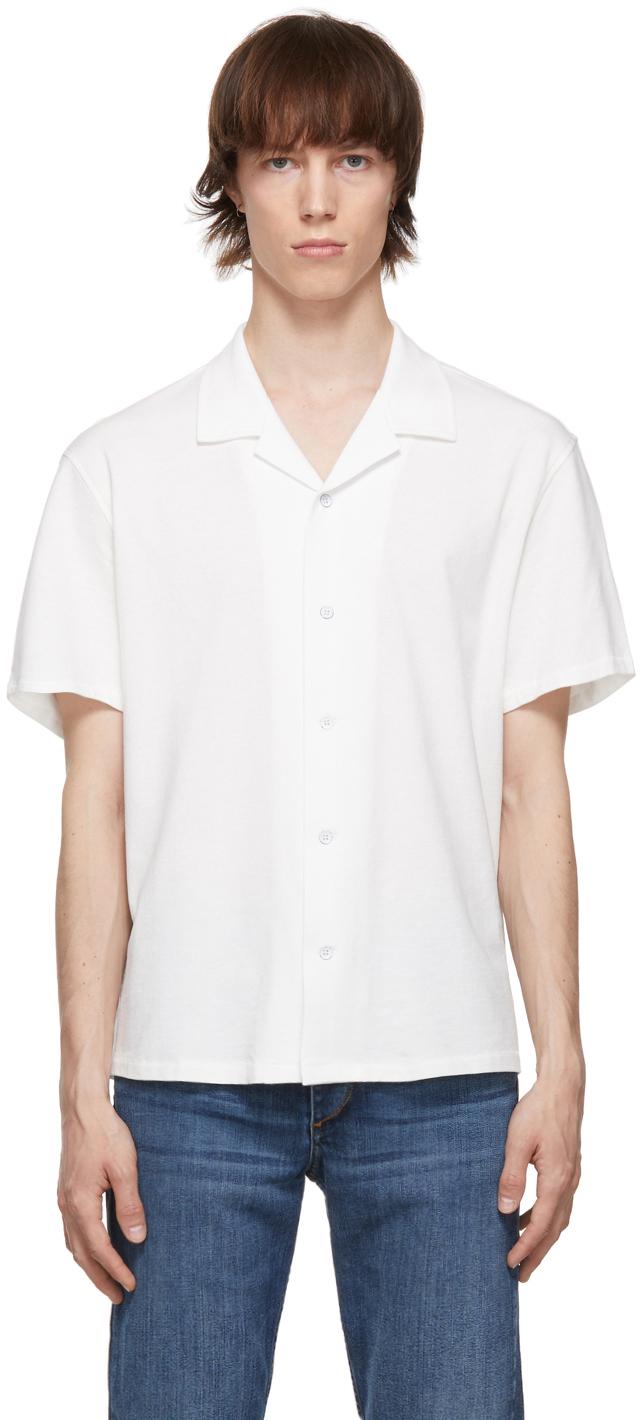 Photo: rag & bone White Cotton Knit Avery Short Sleeve Shirt