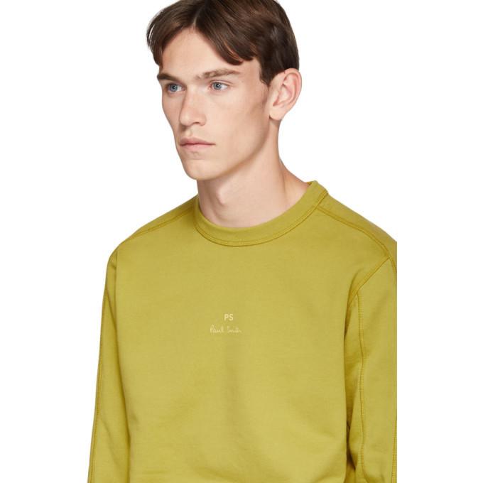 PS by Paul Smith Yellow Garment-Dye Logo Regular-Fit Sweatshirt
