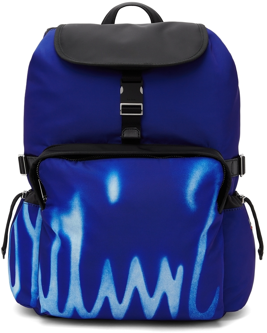 Photo: Paul Smith Blue Spray Print Logo Backpack