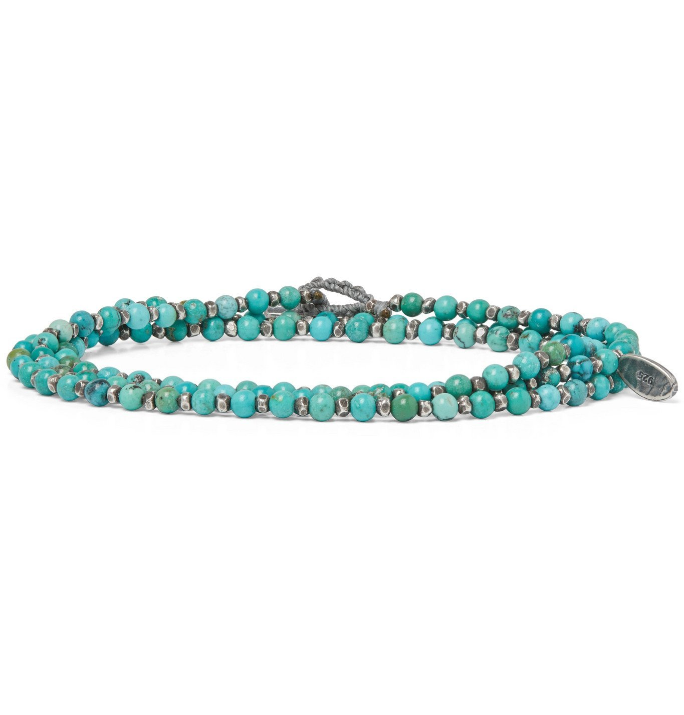Photo: M.Cohen - Sterling Silver and Turquoise Beaded Wrap Bracelet - Blue