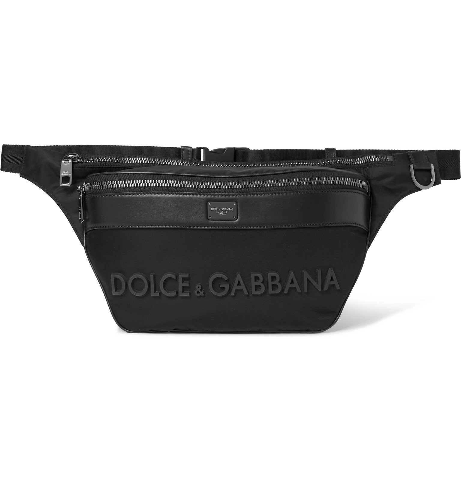Photo: Dolce & Gabbana - Logo-Appliquéd Leather-Trimmed Shell Belt Bag - Black