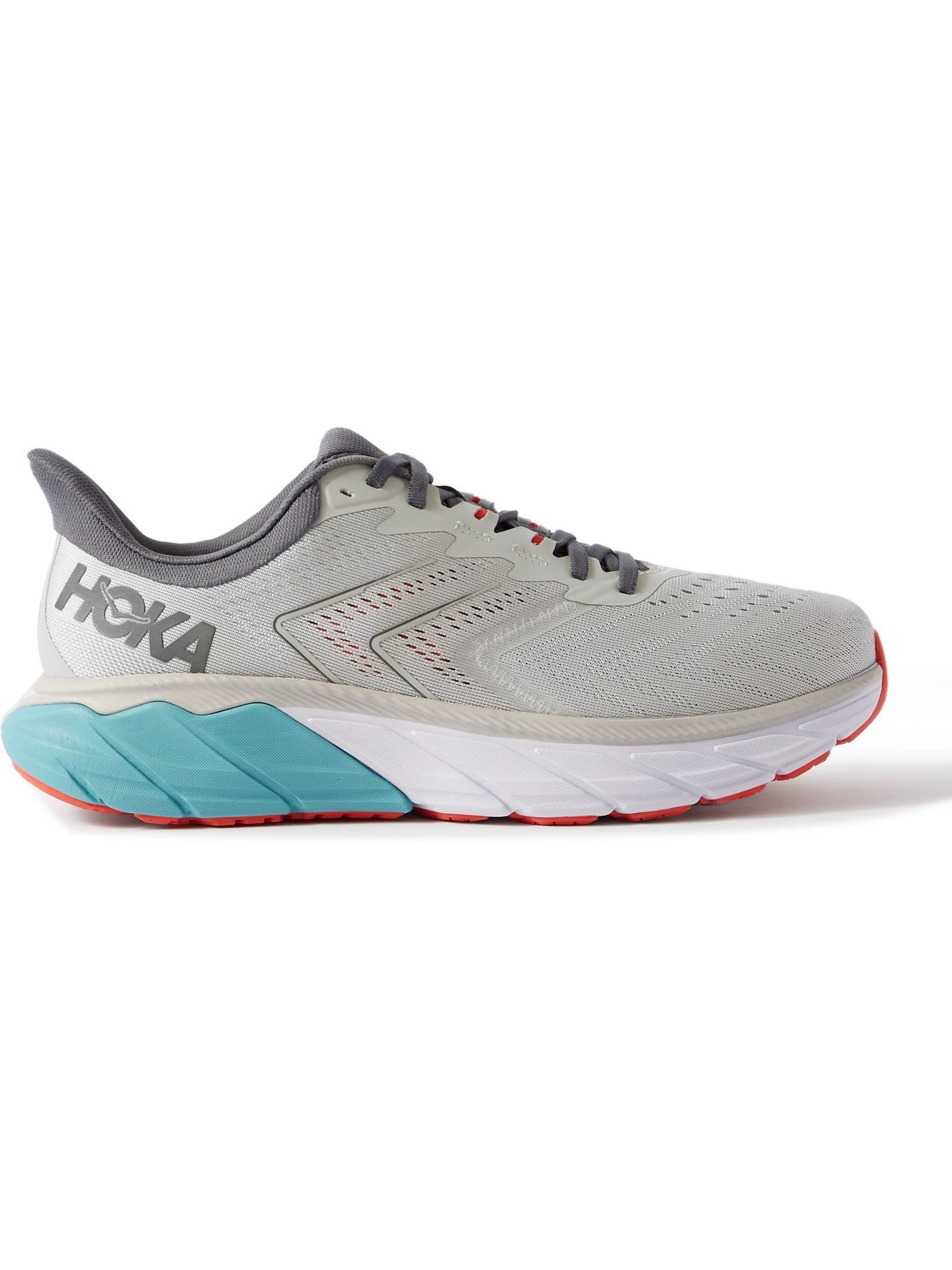 Photo: Hoka One One - Arahi 5 Rubber-Trimmed Mesh Running Sneakers - Gray