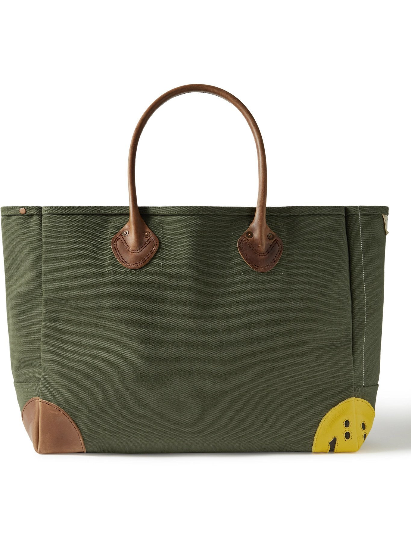 KAPITAL - Smiley Leather-Trimmed Canvas Tote Bag