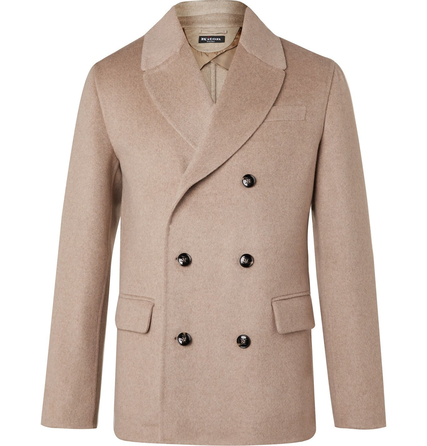 Photo: Kiton - Double-Breasted Cashmere Peacoat - Neutrals
