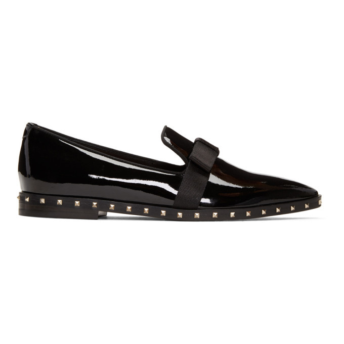 Photo: Valentino Black Valentino Garavani Patent Rockstud Loafers