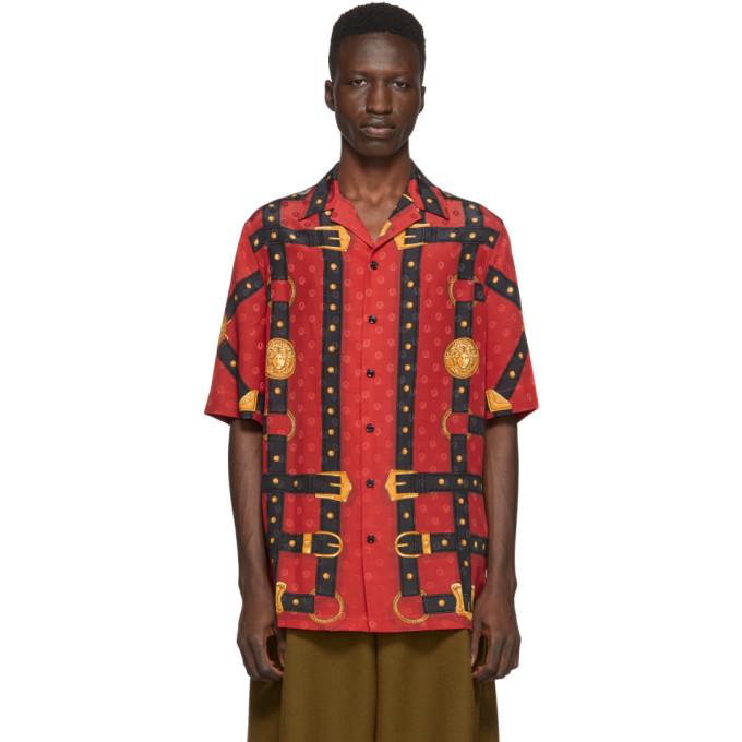 Photo: Versace Red Bondage Print Short Sleeve Shirt