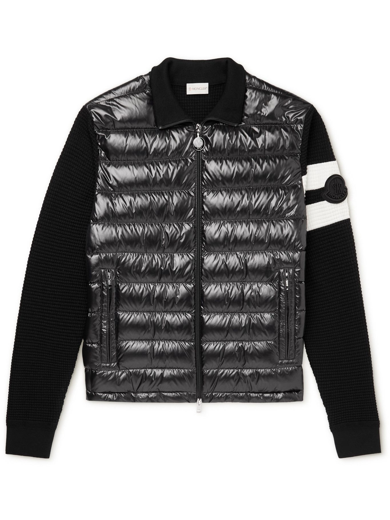 Photo: Moncler - Logo-Appliquéd Striped Wool and Quilted Shell Down Zip-Up Cardigan - Black