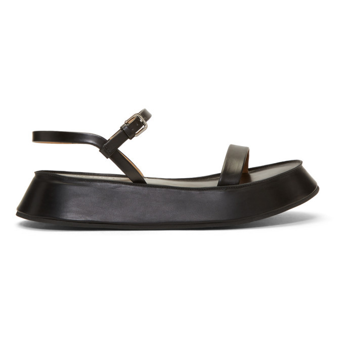 Jil Sander Black Flatform Sandals Jil