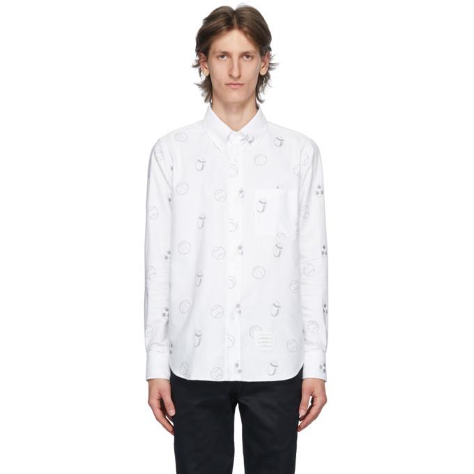 Photo: Thom Browne White Oxford Multi Ball Print Shirt