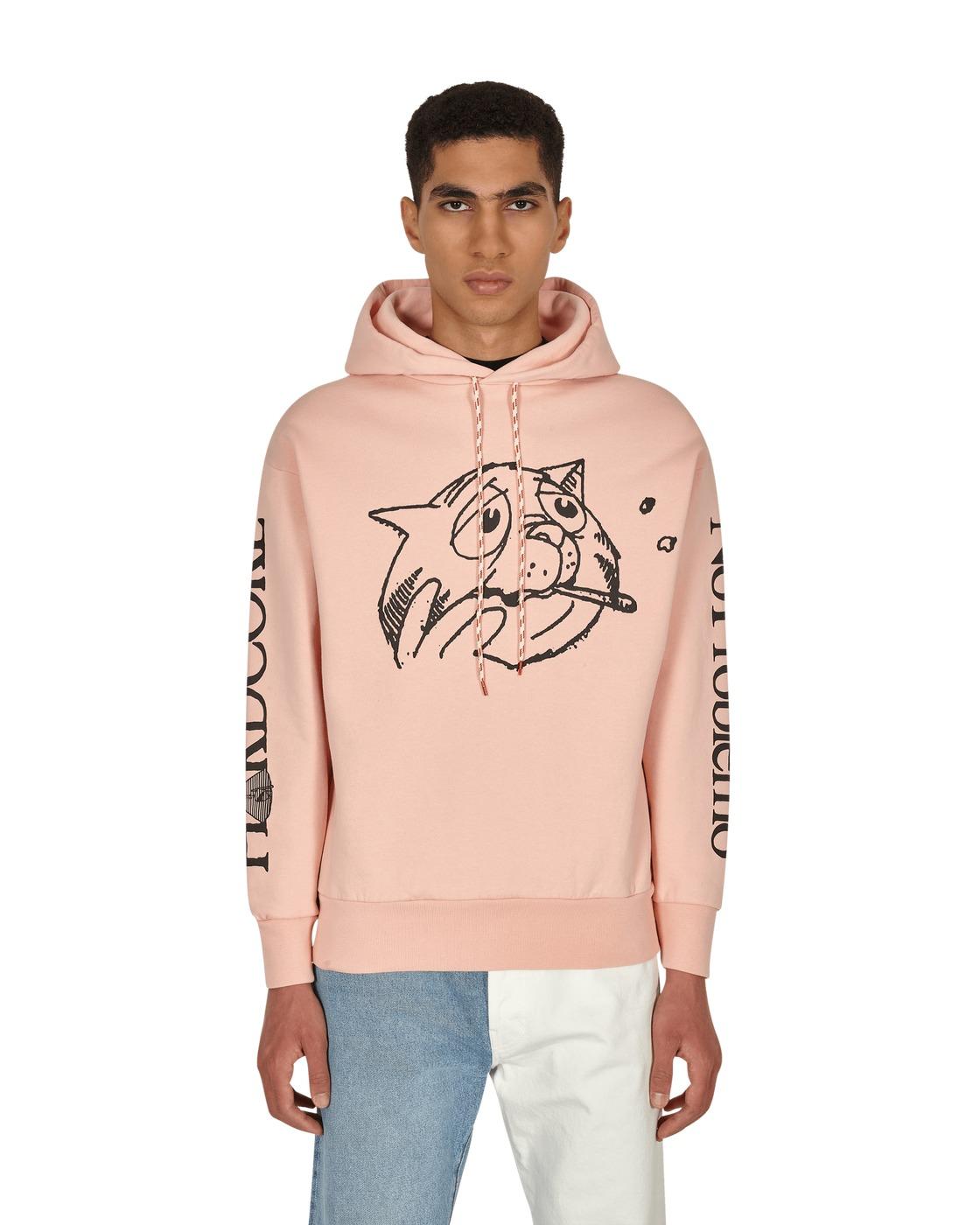 Aries Worried Cat Acid Hooded Sweatshirt Pink