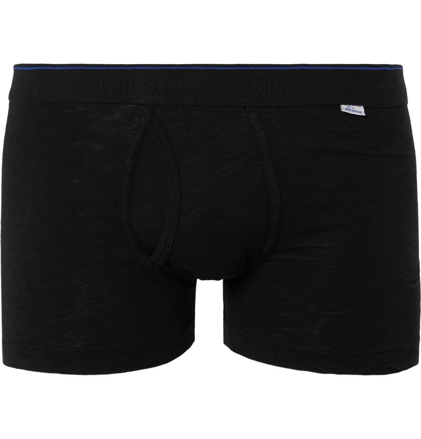 Schiesser - Hanno Stretch Cotton-Jersey Boxer Briefs - Black
