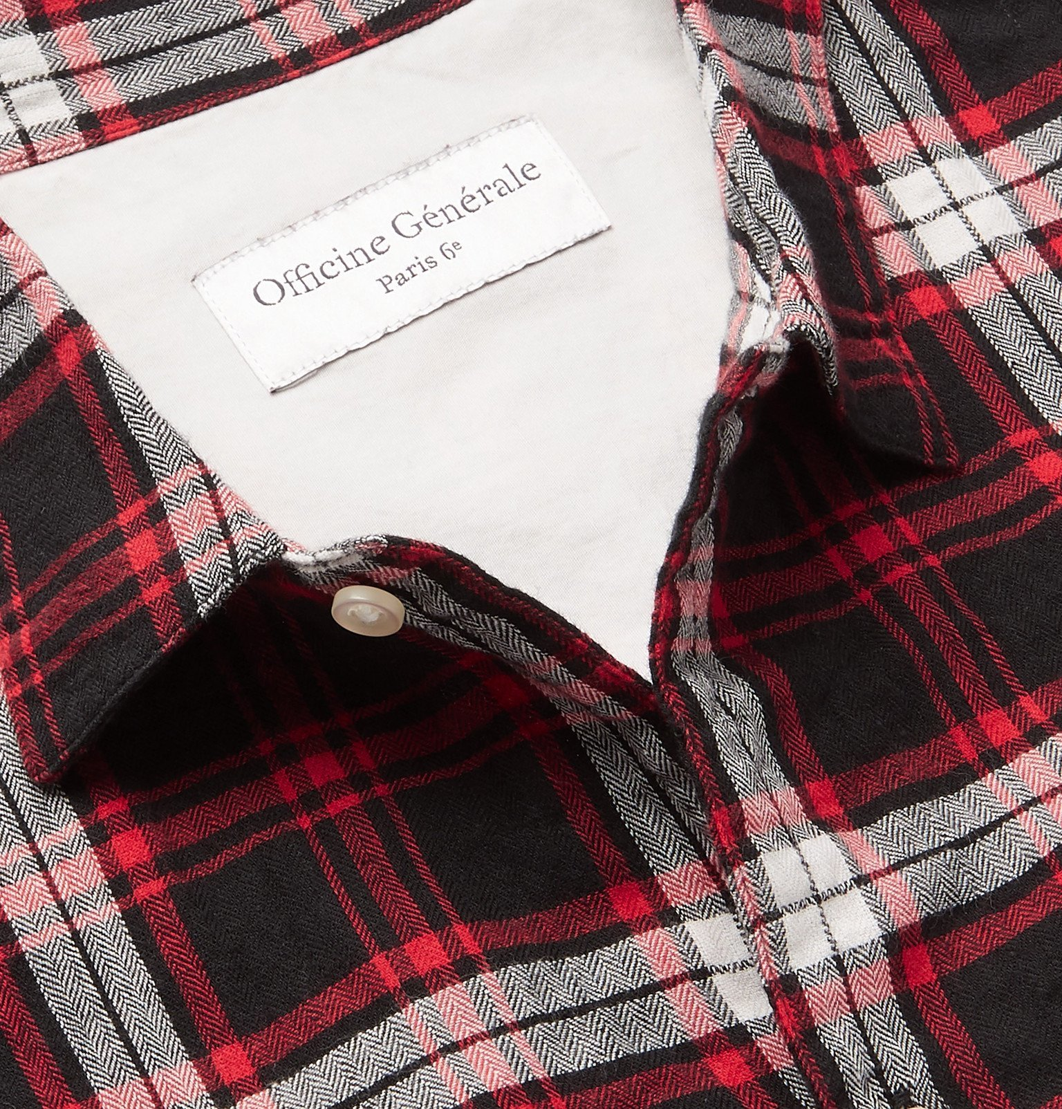 Officine Generale - Checked Cotton-Blend Flannel Shirt - Black