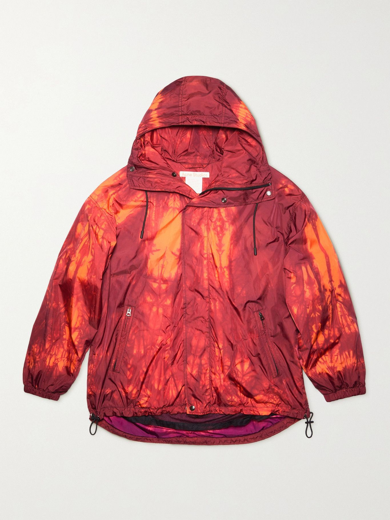Photo: ACNE STUDIOS - Ossi Tie-Dyed Nylon Hooded Jacket - Red