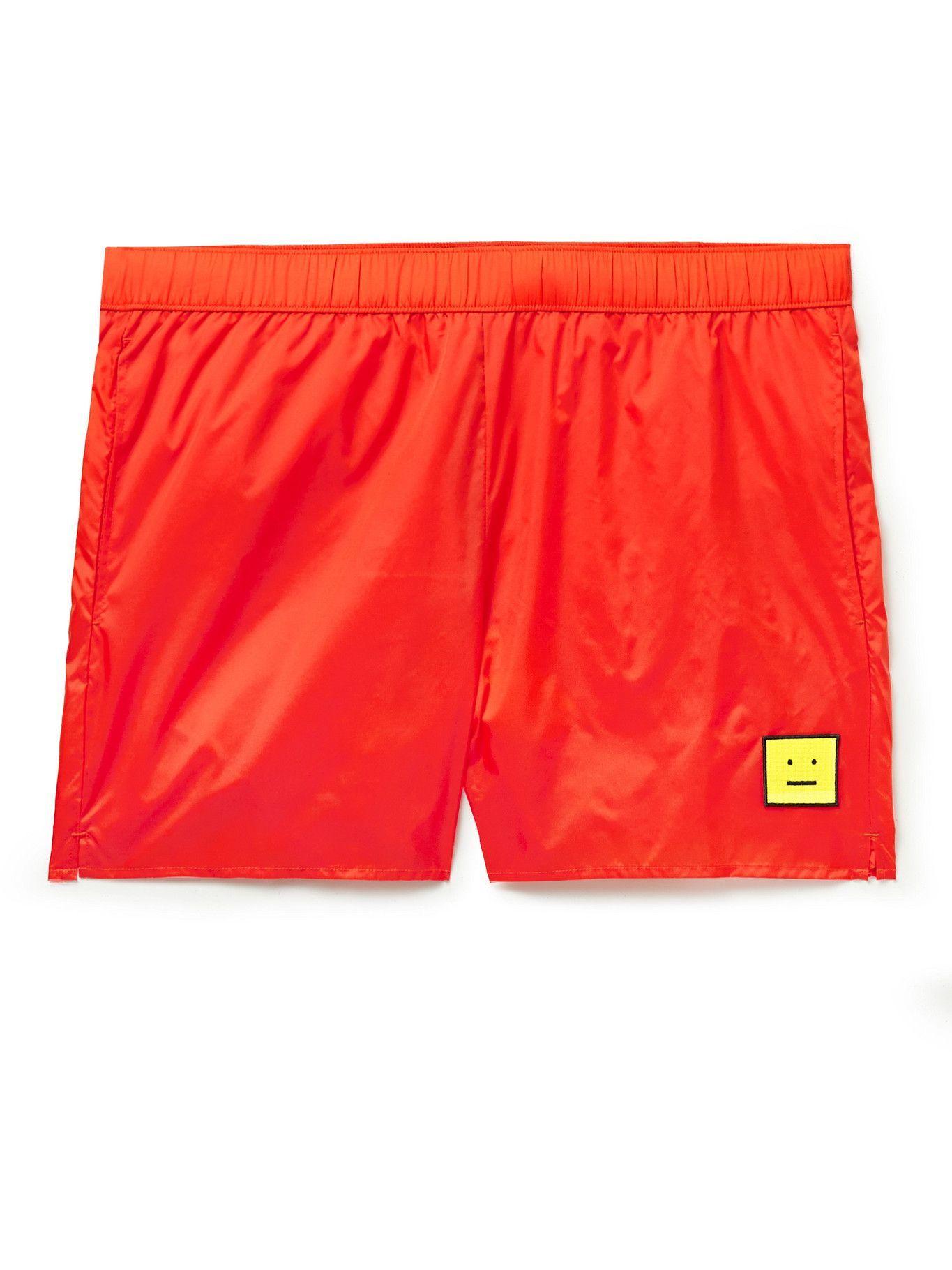 Photo: Acne Studios - Slim-Fit Mid-Length Logo-Appliquéd Swim Shorts - Orange
