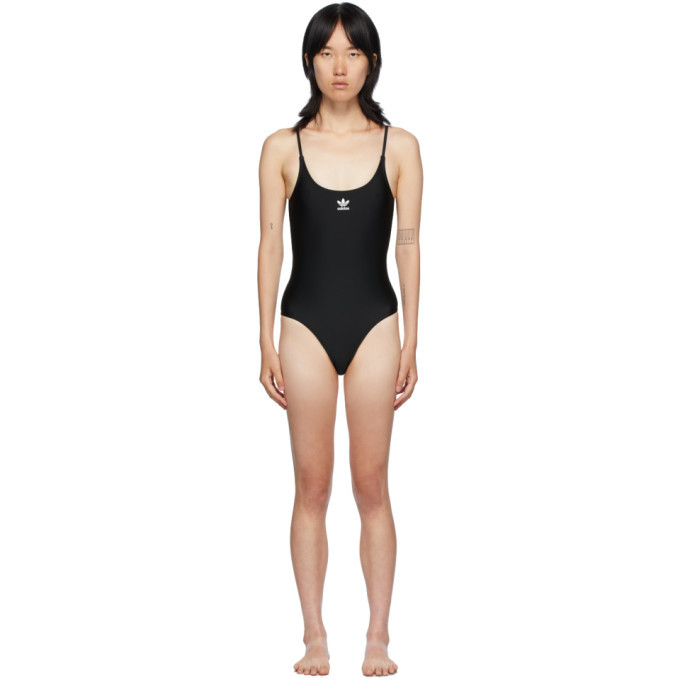 Photo: adidas Originals Black Large Trefoil One-Piece Swim Suit