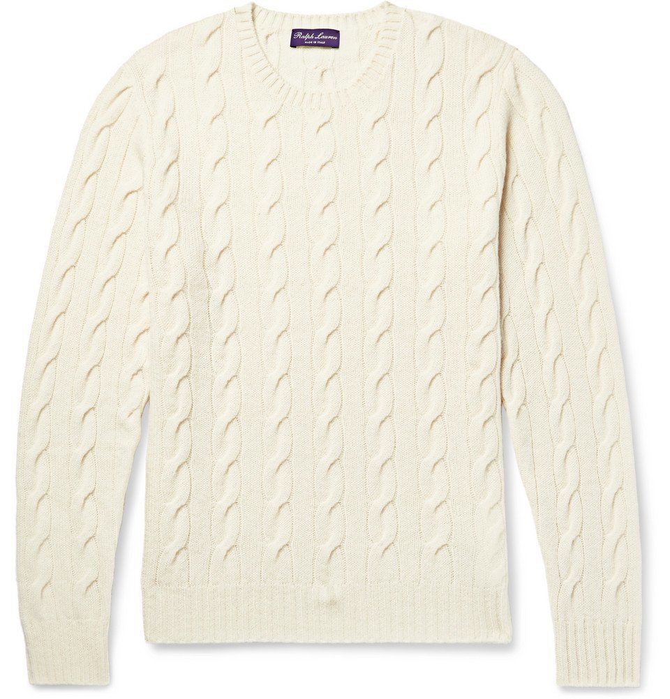 Photo: Ralph Lauren Purple Label - Cable-Knit Cashmere Sweater - Cream