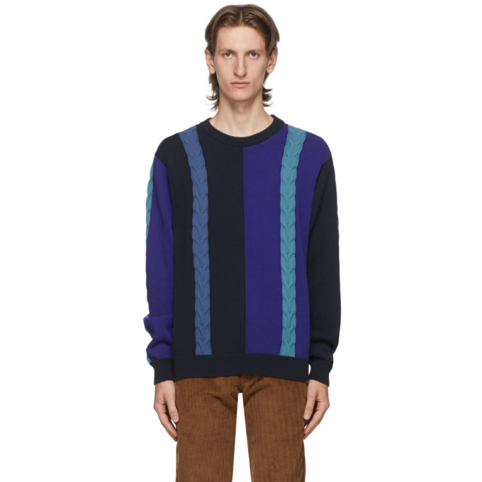 Photo: PS by Paul Smith Navy Colorblock Crewneck Sweater