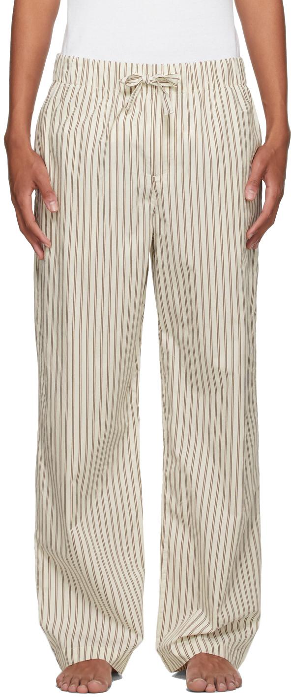 Photo: Tekla White & Brown Poplin Striped Pyjama Pants