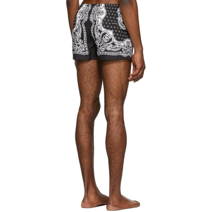 Dolce and Gabbana Black and White Bandana Swim Shorts