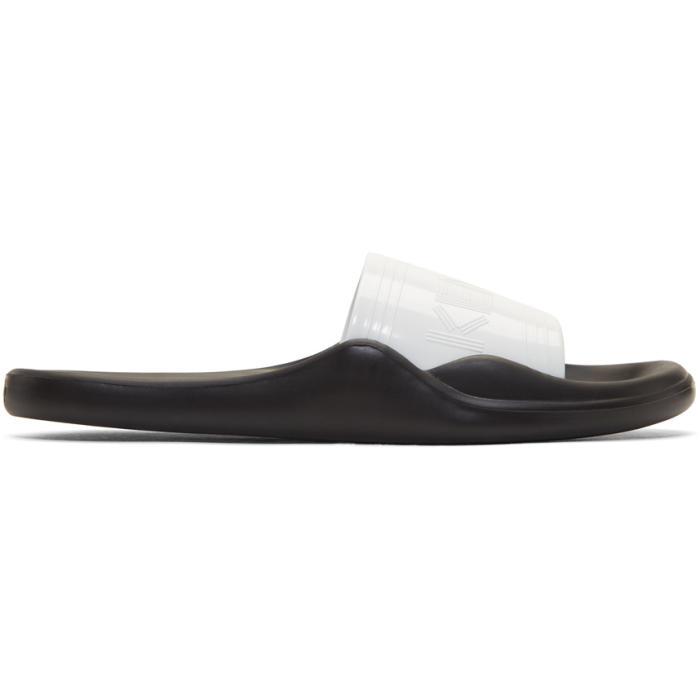 4f0f8c052 Kenzo White and Black Pool Gummy Slide Sandals Kenzo