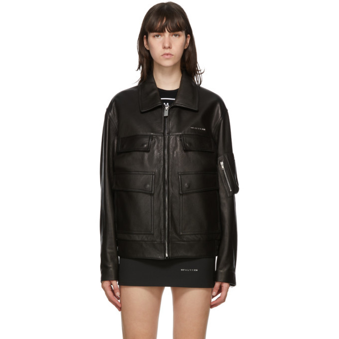 Photo: 1017 ALYX 9SM Black Leather Zip-Up Jacket