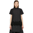 Sacai Black Poplin and Lace Short Sleeve Shirt