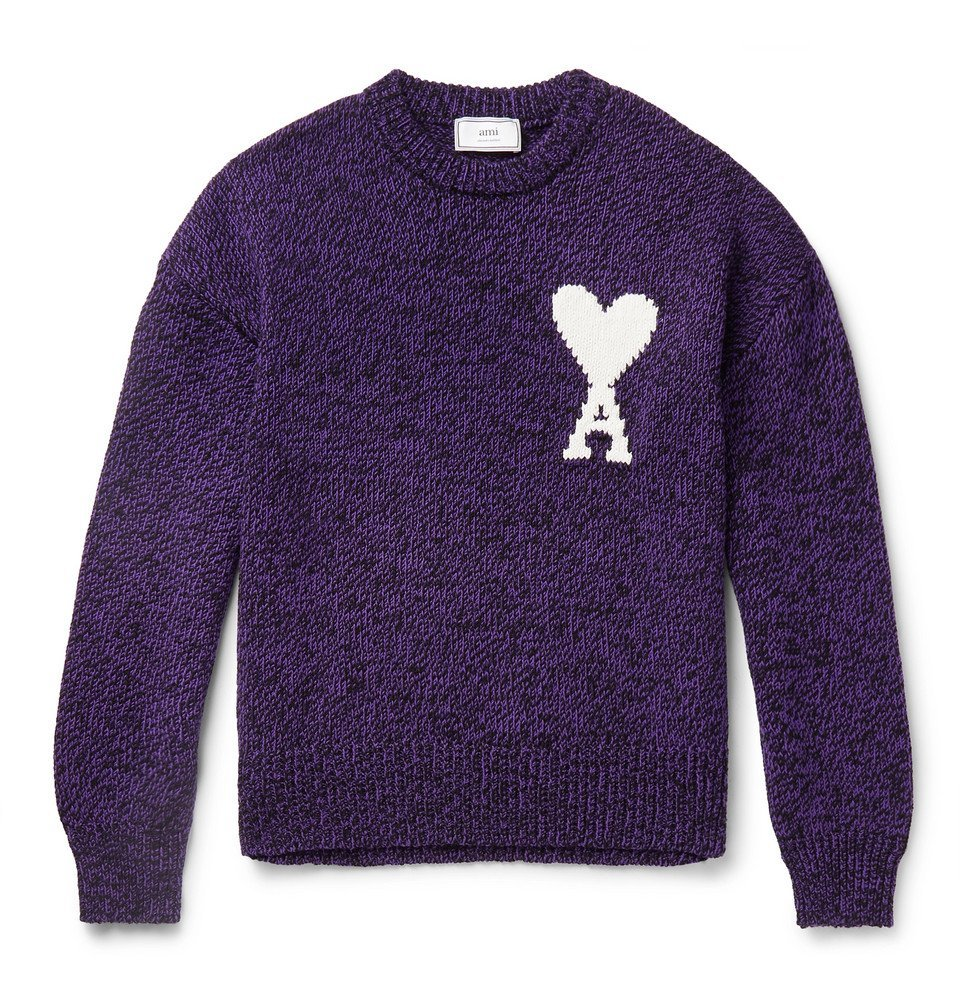 Photo: AMI - Oversized Logo-Intarsia Cotton and Merino Wool-Blend Sweater - Purple