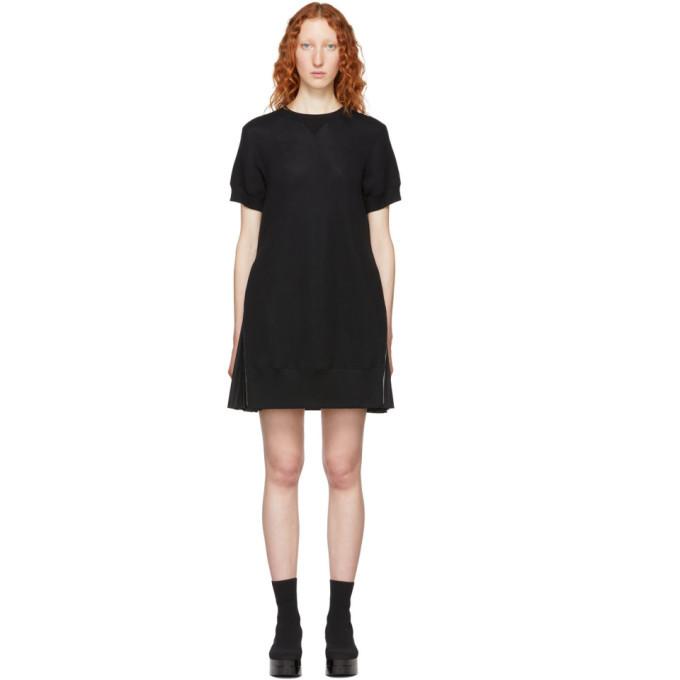 Sacai Black Short Sponge Sweat Dress