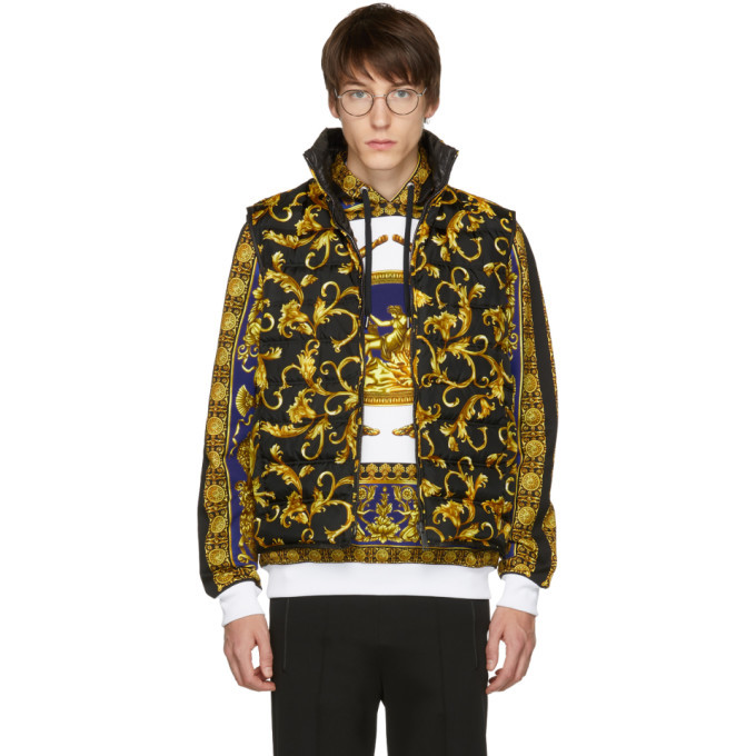 Photo: Versace Black and Gold Down Brocade Puffer Vest