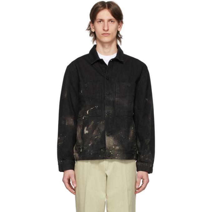 Photo: Etudes SSENSE Exclusive Black Denim Bleached Corner Jacket