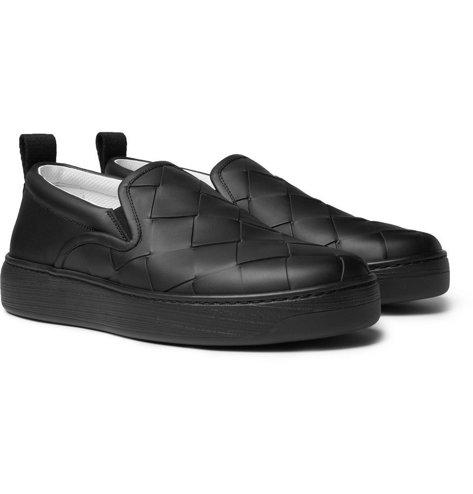 Photo: Bottega Veneta - Dodger Intrecciato Leather Slip-On Sneakers - Black