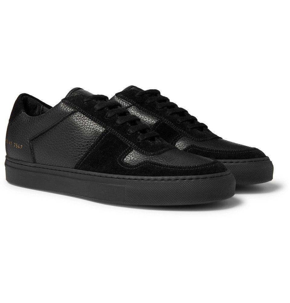 Photo: Common Projects - BBall Full-Grain Leather and Suede Sneakers - Black