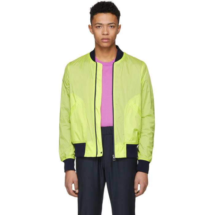 Photo: PS by Paul Smith Yellow Neon Ripstop Bomber Jacket