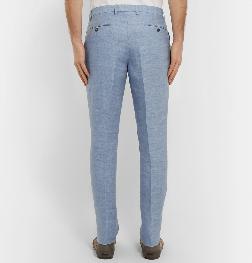 Tod's - Slim-Fit Tapered Washed-Linen Trousers - Light blue