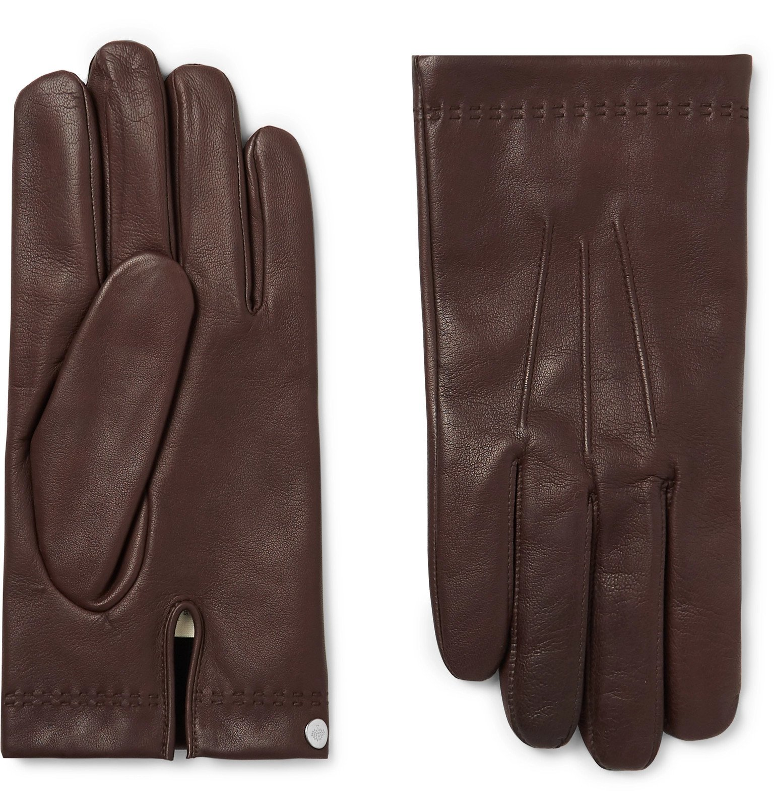 Photo: Mulberry - Cashmere-Lined Leather Gloves - Brown