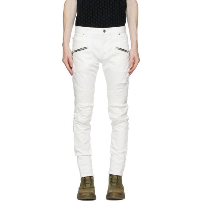 Photo: Balmain White Jacquard Zip Slim Jeans