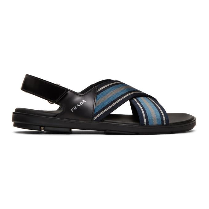 Photo: Prada Black and Blue Ribbon Stripes Ankle Sandals