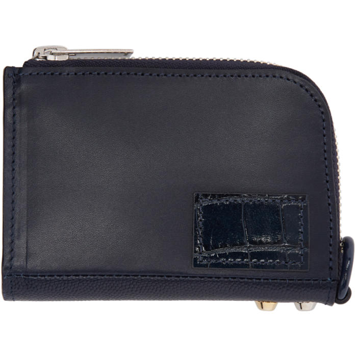 Sacai Navy Zip Card Holder