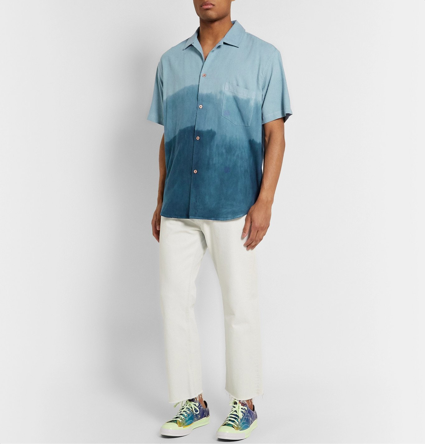 The Elder Statesman - Camp-Collar Dégradé Nep Silk Shirt - Blue