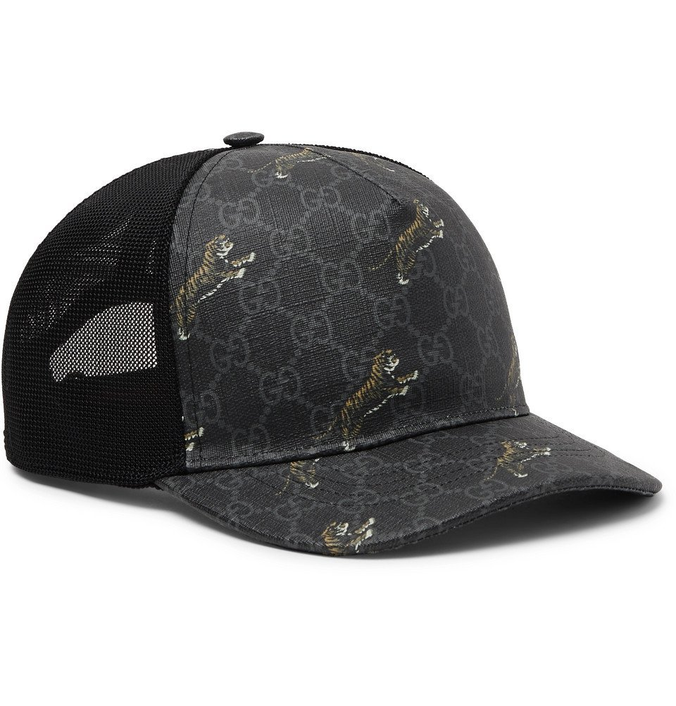 Photo: Gucci - Monogrammed Coated-Canvas and Mesh Baseball Cap - Dark gray