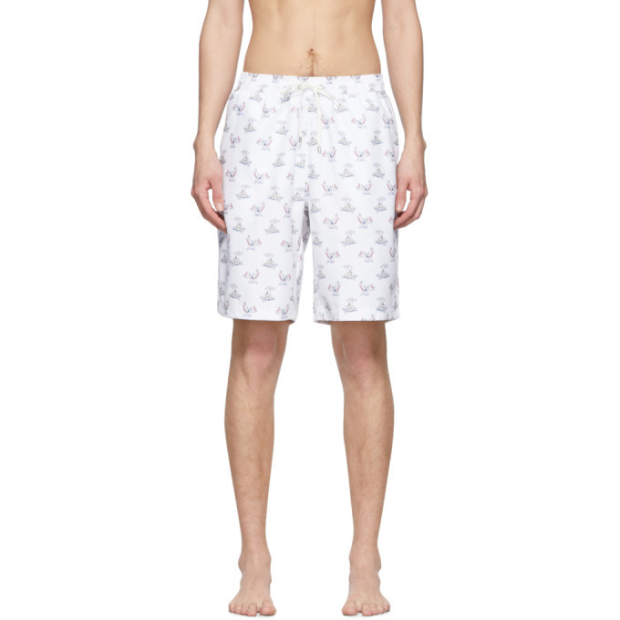 Photo: Sunspel White Sorimachi Cross-Word Swim Shorts