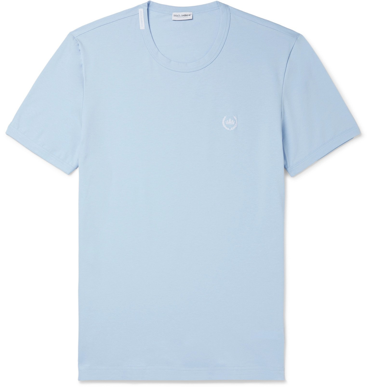 Photo: Dolce & Gabbana - Logo-Embroidered Stretch-Cotton Jersey T-Shirt - Blue