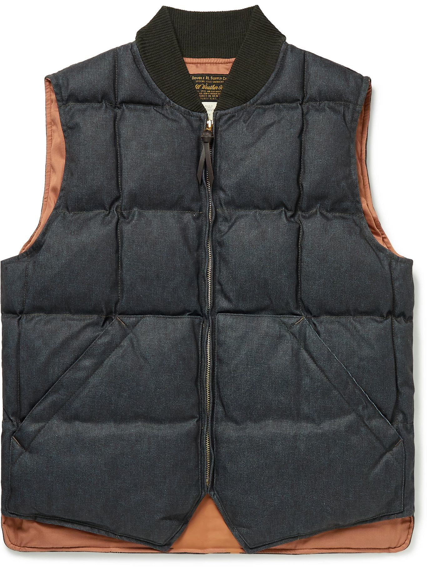 Photo: RRL - Brighouse Quilted Padded Coated-Denim Gilet - Blue