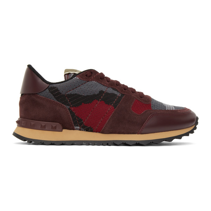 Photo: Valentino Burgundy and Grey Valentino Garavani Rockrunner Sneakers
