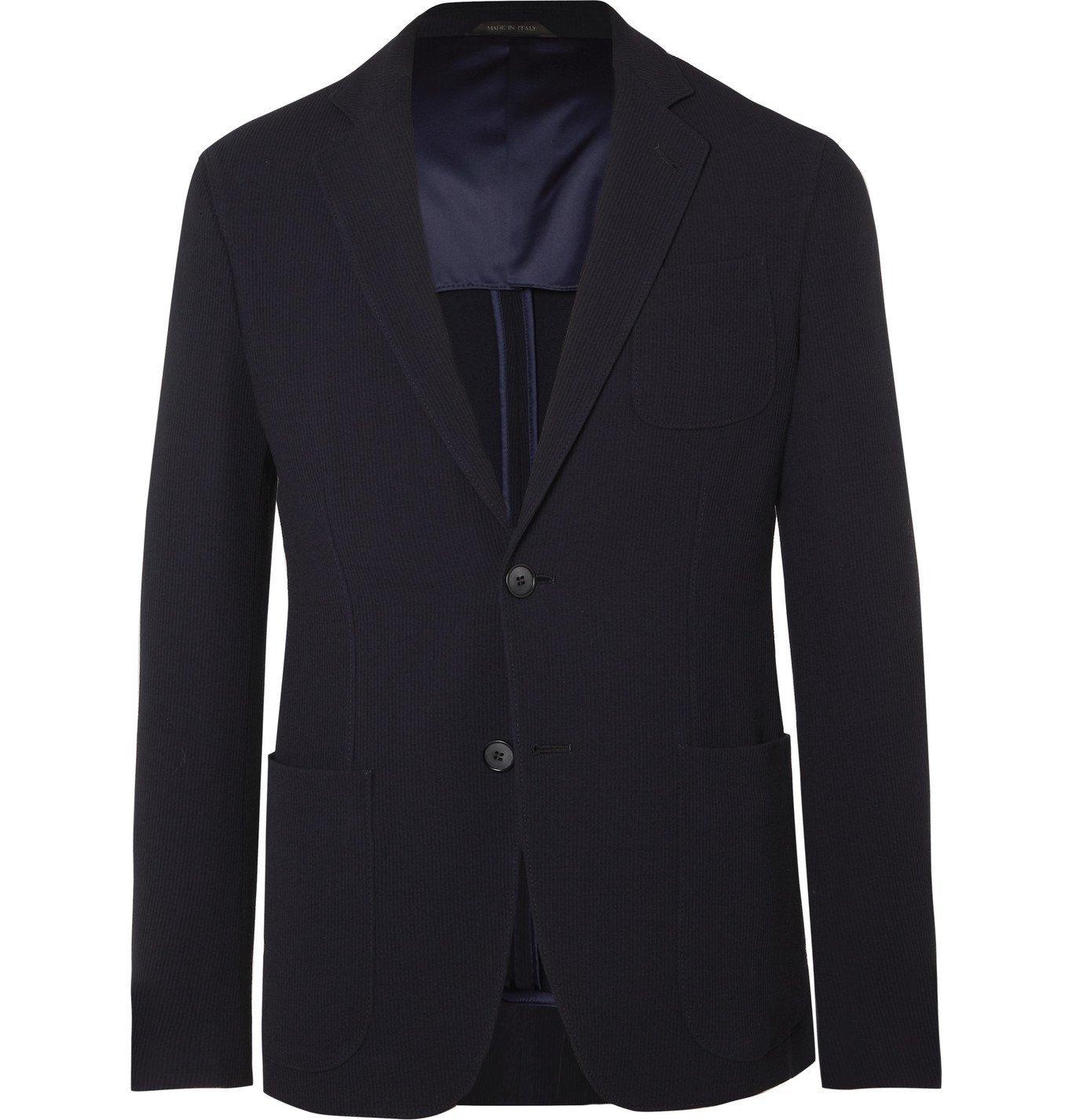 Giorgio Armani - Navy Slim-Fit Virgin Wool-Blend Seersucker Suit Jacket - Blue