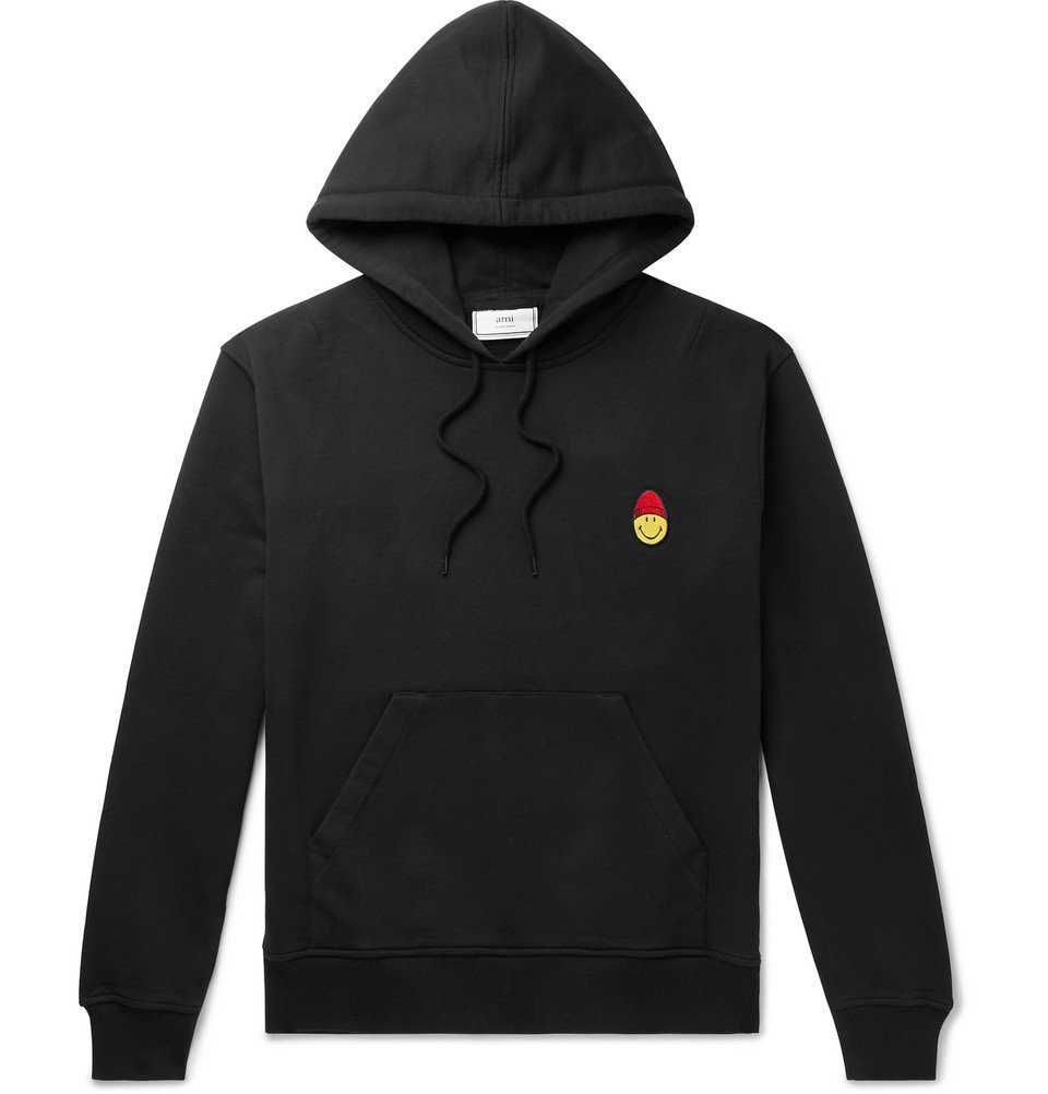 Photo: AMI - The Smiley Company Slim-Fit Logo-Appliquéd Loopback Cotton-Jersey Hoodie - Black