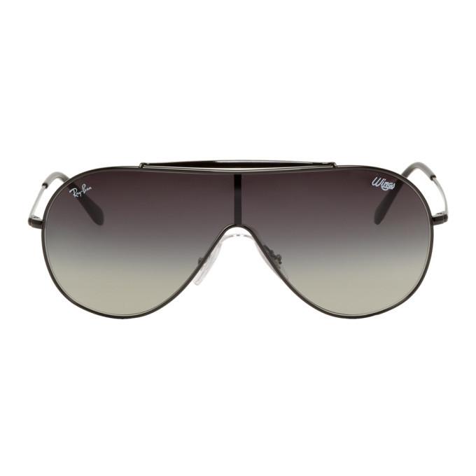 Photo: Ray-Ban Black and Grey Pilot Wings Sunglasses