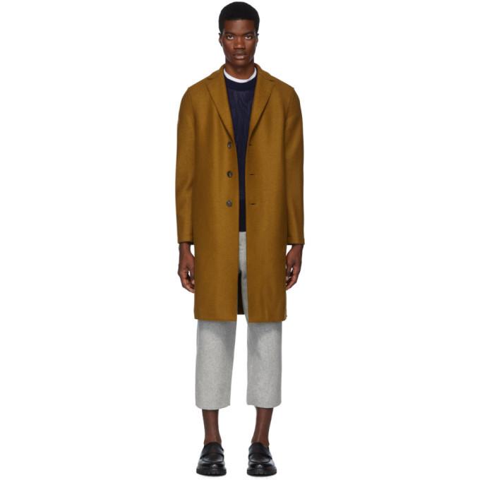 Photo: Harris Wharf London Brown Wool Pressed Overcoat